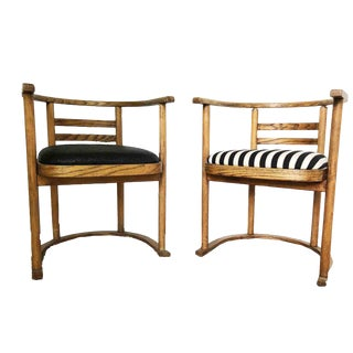 1920s Vintage Upholstered Arm Chairs- A Pair For Sale