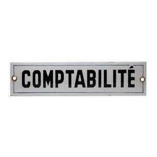 Enamel Comptabilite Sign For Sale