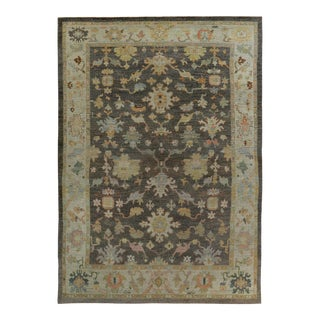 Turkish Oushak Rug with Pink & Blue Floral Details on Ivory & Brown Field For Sale