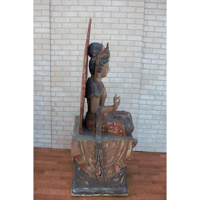 Mid 20th Century Chinese Quan-Yin Sitting Mandorla Statues - a Pair For Sale - Image 10 of 13