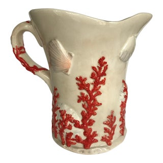 Vintage Hand Painted Seashell and Coral Ceramic Pitcher For Sale