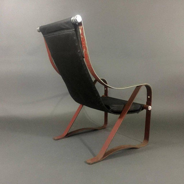 1930s 1930s McKay Craft Leather and Steel Sling Chair For Sale - Image 5 of 8
