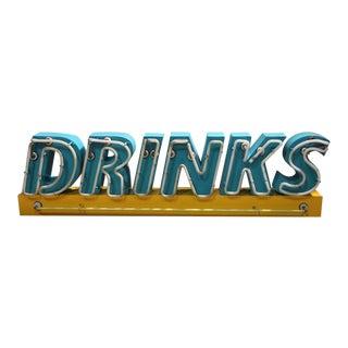 "1980's Vintage Neon ""Drinks"" Sign For Sale"