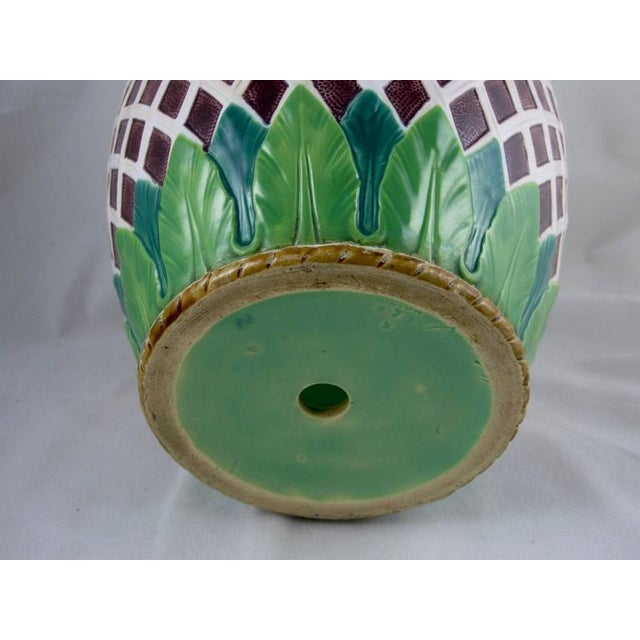 19th C. Minton Majolica Daisy & Trellis Jardinière on Stand For Sale In Philadelphia - Image 6 of 11