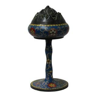 Chinese Metal Blue Enamel Cloisonne Incense Burner Figure For Sale