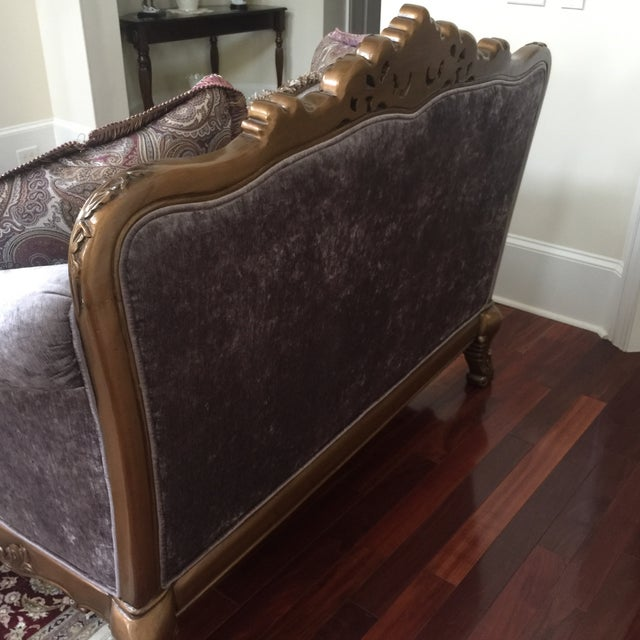 Purple Purple & Paisley Loveseat With Pillows For Sale - Image 8 of 8