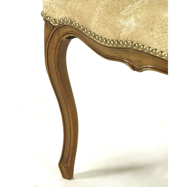 Pair of Walnut Louis XV Style Armchairs in Faux Python - Image 7 of 8