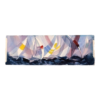 Original Vintage Sail Boat Watercolor Painting Signed For Sale
