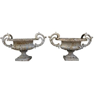 Antique French Cast Iron Urns - a Pair For Sale