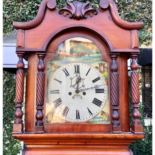 Antique English Fruitwood Grandfather Clock C.1840 - recently serviced and in full working order!