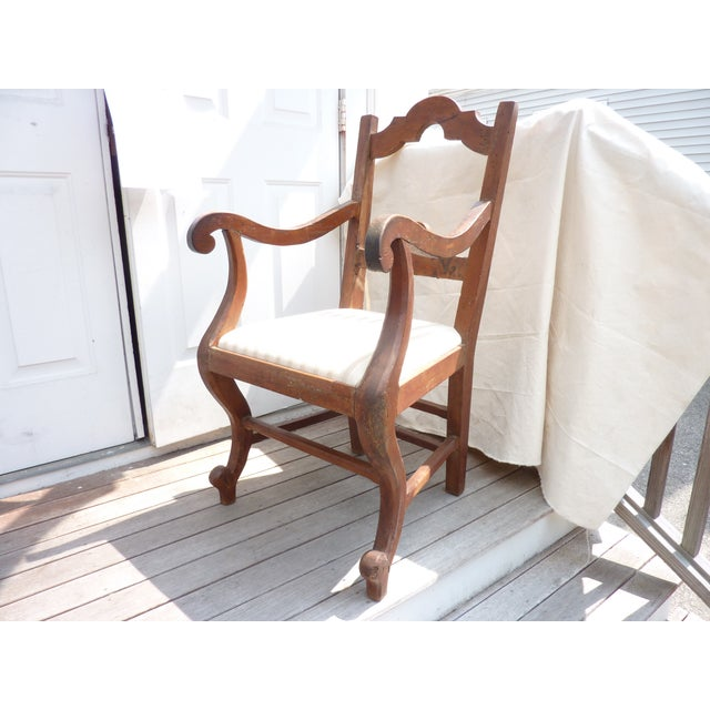 Rustic Walnut Armchair - Image 2 of 7