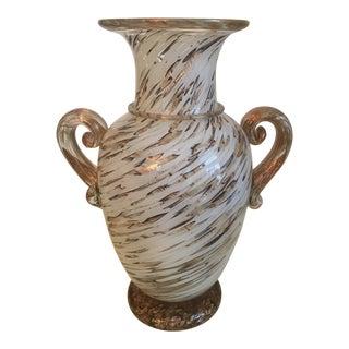 Gambaro and Poggi Gold Flecked Murano Glass Vase For Sale