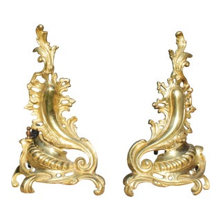 French Louis XV Rococo Style Bronze Brass Chenets Andirons - a Pair For Sale