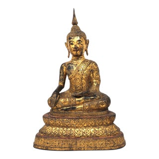 Antique Thai Gilt Bronze Figure of Seated Buddha For Sale