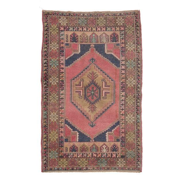Textile Vintage Decorative Turkish Area Rug- 3′8″ × 5′10″ For Sale - Image 7 of 7