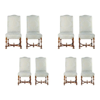 19th C. Italian Walnut Dining Chairs - Set of 8 For Sale