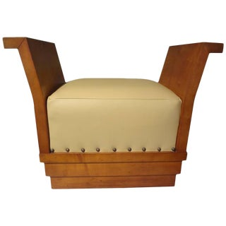 1930s French Art Deco Geometric Leather Upholstered Bench For Sale