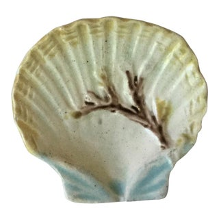 1880 English Majolica Shell Butter Pat For Sale