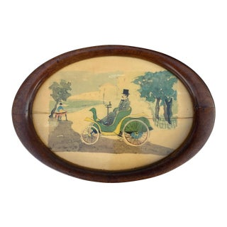 Vintage Dapper Gentleman's Oval Plateau Tray W/ Walnut Frame - Made in Italy For Sale