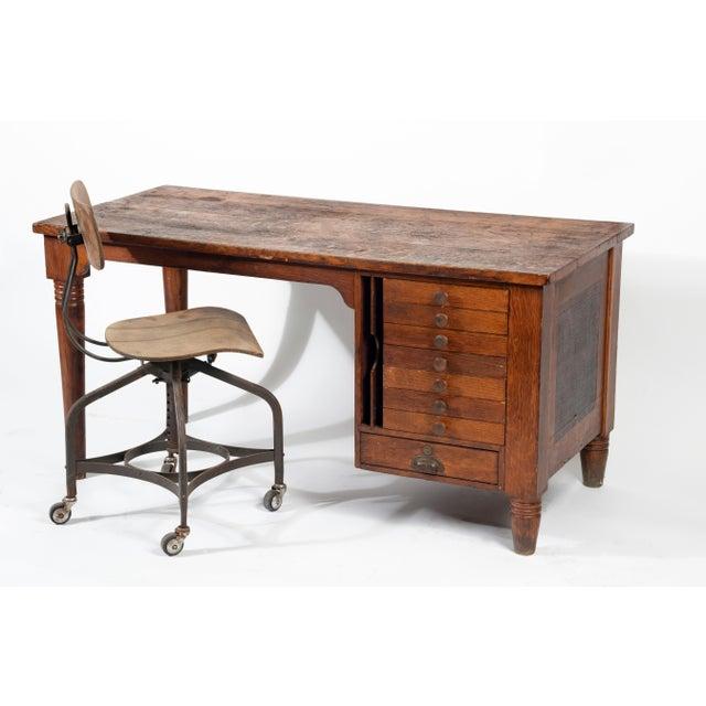 1920s 1920s Early American Quartersawn Oak Draftsman's Desk For Sale - Image 5 of 5
