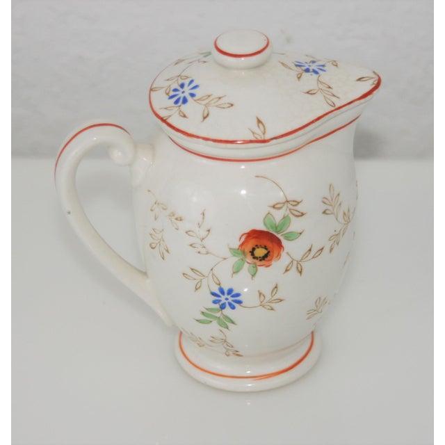 Shabby Chic Vintage Mid-Century Japan Ceramic Floral Design Lidded Syrup Pitcher For Sale - Image 3 of 9
