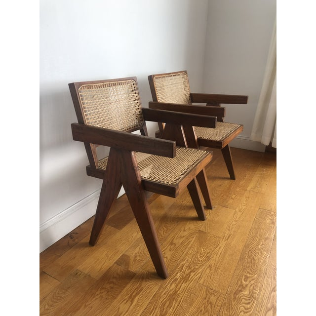 Pierre Jeanneret Pierre Jeanneret Caned Armchairs - a Pair For Sale - Image 4 of 11
