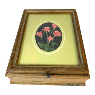 Antique Victorian Hinged Wood Jewelry Box with Roses Print Under Glass on Lid For Sale
