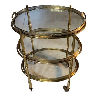 Vintage 1960s Three-Tier Solid Brass Desert Stand Table For Sale