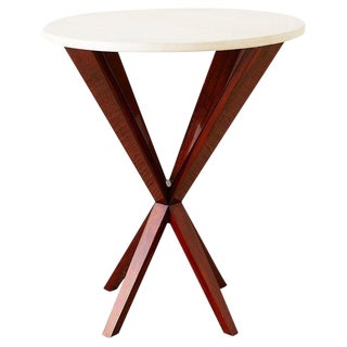 Art Deco Style Mahogany and Goatskin Vellum Drinks Table For Sale