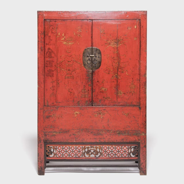 19th Century Chinese Gilt Red Lacquered Cabinet For Sale - Image 10 of 10