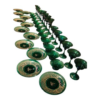 1950s Green Hand-Blown Murano Glass - Set of 39 For Sale