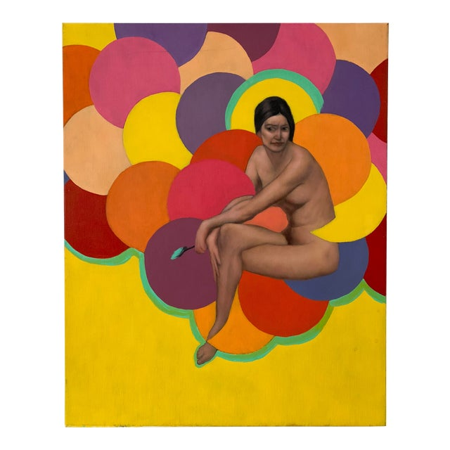 1990s Nude Woman Oil Portrait Painting For Sale