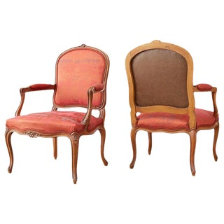 19th Century Louis XV Carved Walnut Armchairs - a Pair For Sale