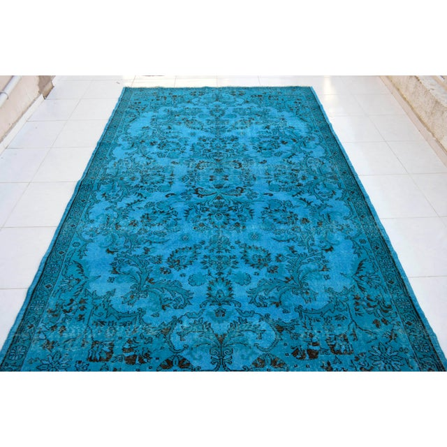 """Traditional Cyan Blue Overdyed Turkish Hand Knotted Rug - 6'5"""" X 10' For Sale - Image 3 of 10"""