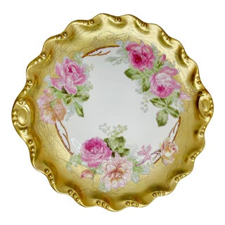 Antique Early 1900s Art Nouveau French Coiffe Limoges Blakeman and Henderson Cake Dish Gilt Porcelain Roses For Sale