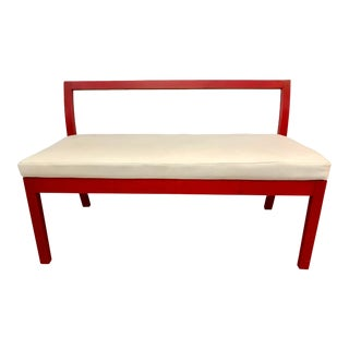 Asian Modern Red Lacquered and Leather Bench For Sale