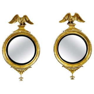 Pair of Federal Giltwood Convex Mirrors For Sale