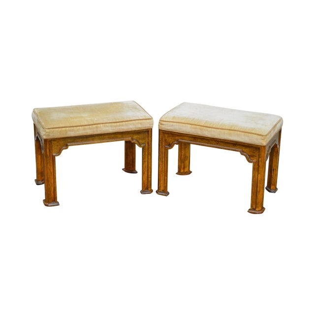 Drexel Heritage Pair of Vintage Walnut Stools or Benches For Sale