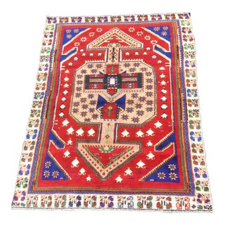 "Vintage Persian Gabbeh Wool Rug - 5'8""x7'4"" For Sale"
