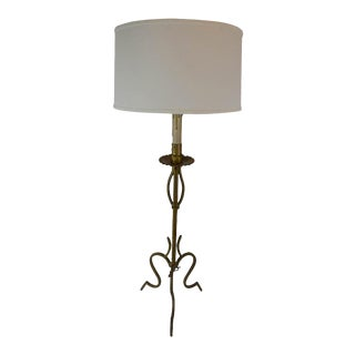 French Tripod Candlestick Table Lamp For Sale