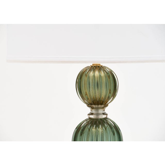 Green Avventurina Murano Glass Lamps For Sale - Image 4 of 10