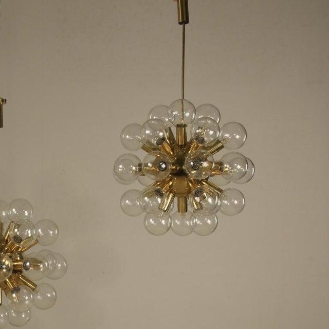 Robert Haussmann One of Robert Haussmann Brass Sputnik Pendants Holding Twenty Eight Bulbs For Sale - Image 4 of 11