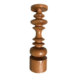Turned Wood Candleholder For Sale