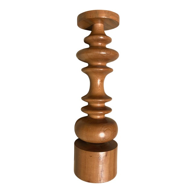 Turned Wood Candleholder For Sale