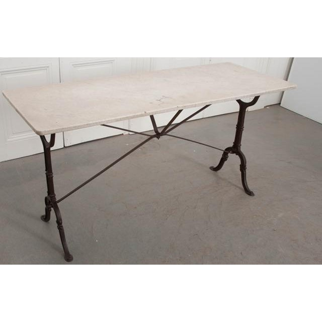French French Early 20th Century Long Marble Top Bistro Table For Sale - Image 3 of 9