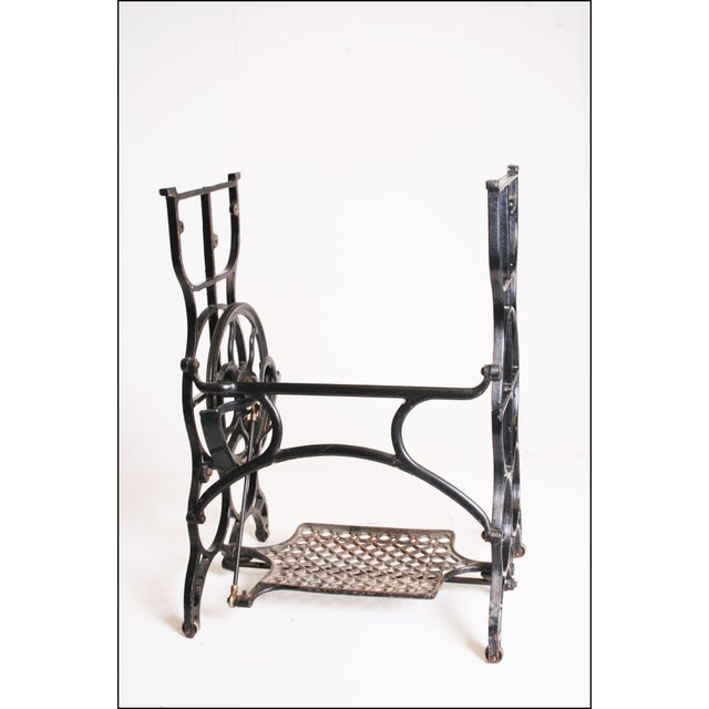 Vintage Industrial Black Iron Treadle Sewing Machine Base - Image 10 of 11