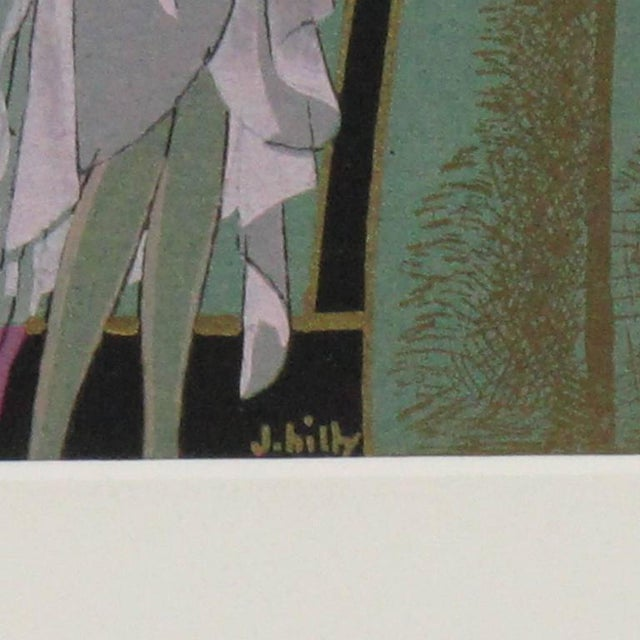 French J. Hilly 1920s Original Art Deco Ink and Gouache Illustration Drawing For Sale - Image 4 of 7