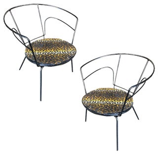 Atomic Age Iron Wire Side Armchair W/ Leopard Print Seat, Pair For Sale