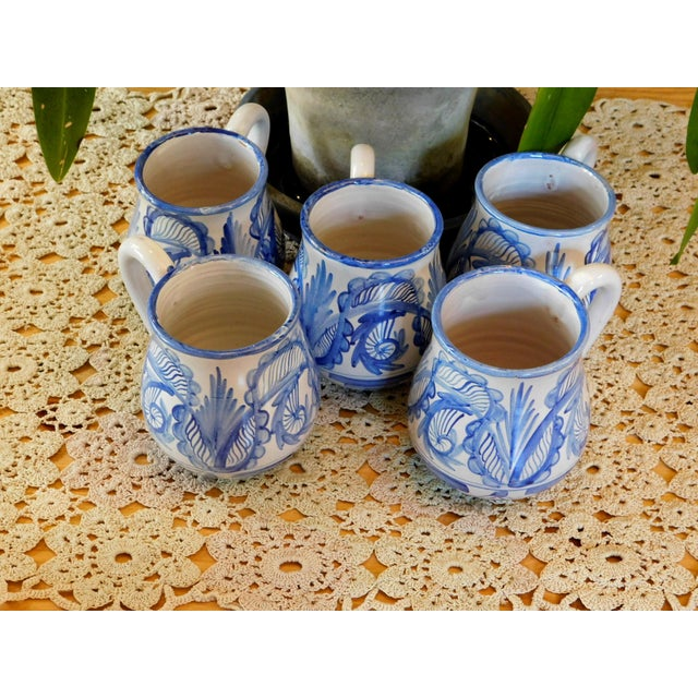 Blue Hand Made Rustic Blue and White Studio Mugs - Set of 5 For Sale - Image 8 of 9