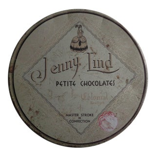Mid-Century Jenny Lind Chocolates Advertising Tin Filled With Vintage Buttons